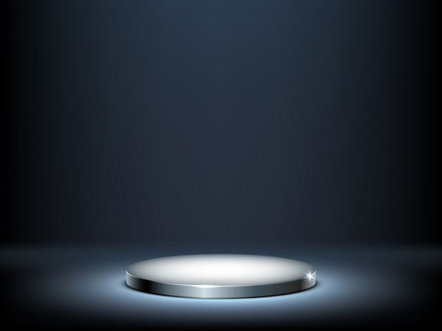 Pódio redondo, pedestal de metal iluminado