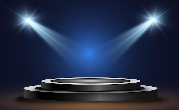 Pódio redondo, pedestal ou plataforma, iluminado por holofotes ao fundo. ilustração. luz brilhante. luz de cima. local de publicidade