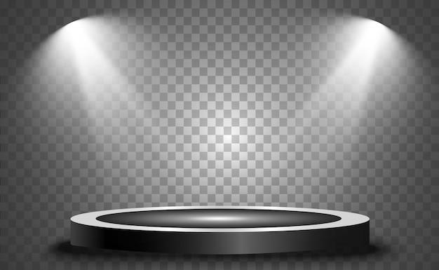 Pódio redondo, pedestal ou plataforma, iluminado por holofotes. luz brilhante. luz de cima.