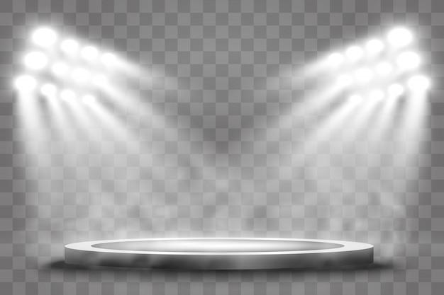 Pódio redondo, pedestal ou plataforma, iluminado por holofotes no fundo. pódio com fumaça. luz brilhante.