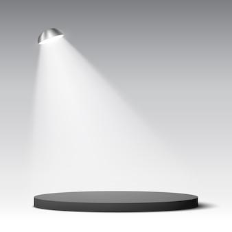 Pódio redondo preto. pedestal. cena. ilustração.