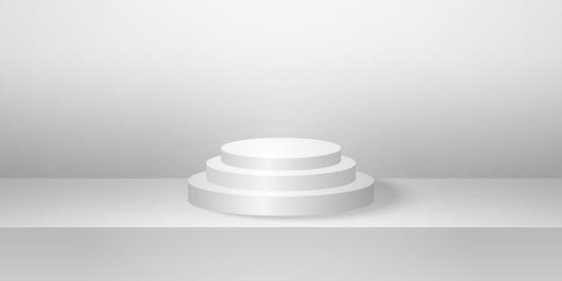 Pódio redondo realista com simulação de fundo de produto mínimo de sala de estúdio cinza vazia para exibição