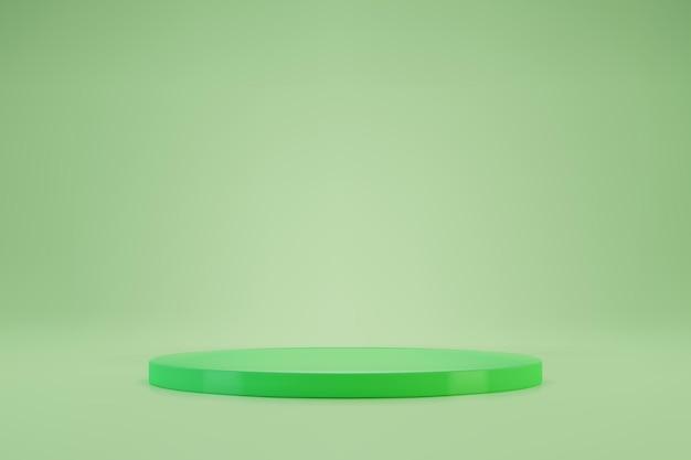 Pódio redondo verde claro 3d ou pedestal em fundo pastel