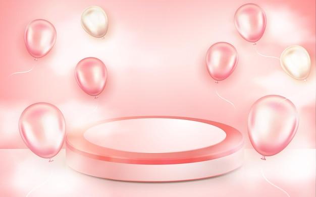 Pódio rosa realista com balão 3d para exibição de amor