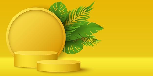 Pódio tropical e plantas exóticas para exibir suas marcas. estágio de vetor 3d para apresentação