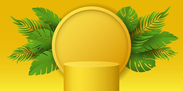 Pódio tropical e plantas exóticas para exibir suas marcas. estágio vetorial para apresentação