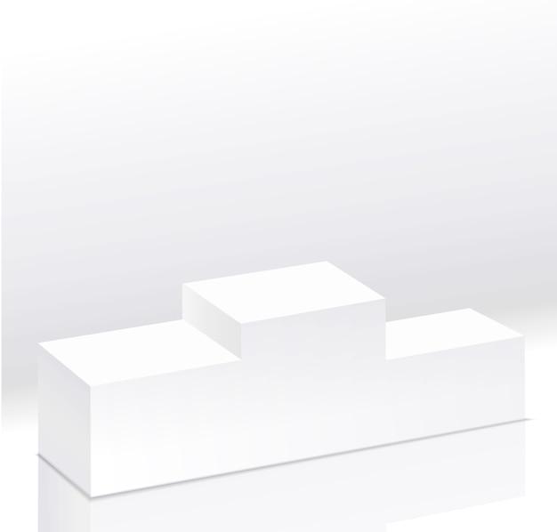 Pódio vazio branco dos vencedores do esporte isolado. vista lateral do pedestal