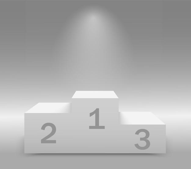 Pódio vazio dos vencedores com primeiro, segundo e terceiro lugar para a cerimônia de premiação