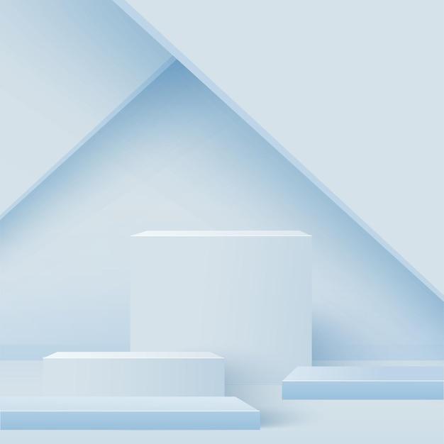 Pódios 3d geométricos abstratos azuis.