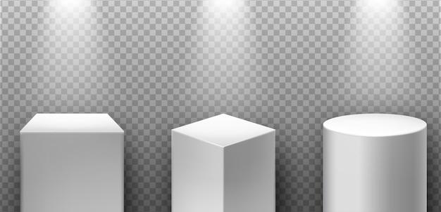 Pódios 3d realistas com holofotes Vetor Premium