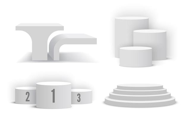 Pódios brancos conjunto de pedestais brancos