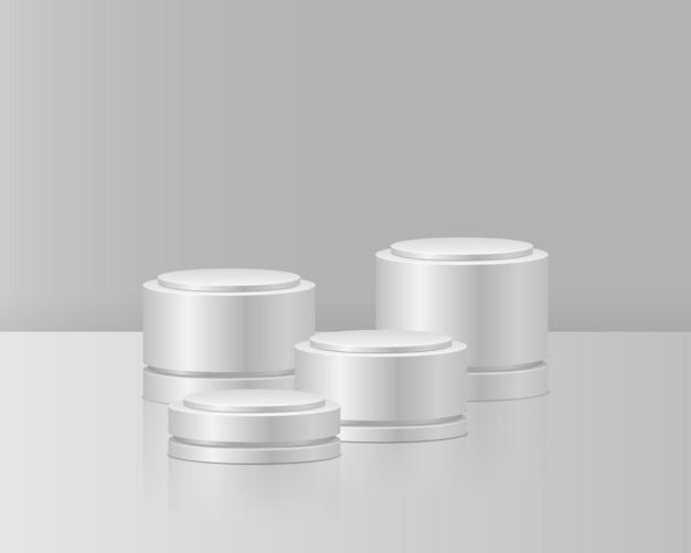 Pódios brancos pedestal realista para vencedores pedestal e cilindro de plataforma de suporte