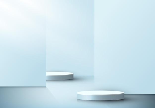 Pódios cilíndricos 3d realistas sala interna com divisória ou pano de fundo em azul suave e iluminação de fundo mínima da cena. ilustração vetorial