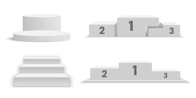Pódios em branco brancos. conjunto de pedestais.