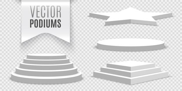 Pódios em branco brancos em transparente. coleção de pedestais.