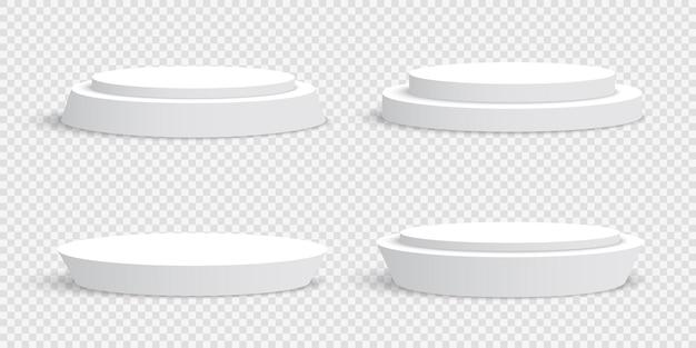 Pódios redondos em branco brancos em transparente. pedestais.