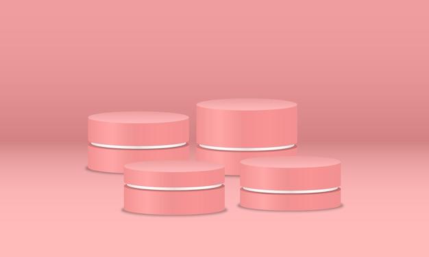 Pódios rosa vazios em fundo rosa