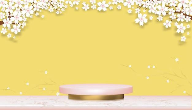 Podium display com flor de cerejeira