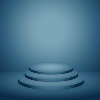 Podium em azul fundo escuro