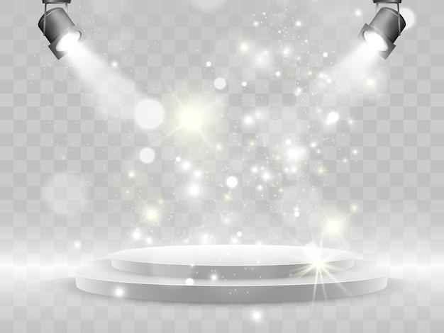 Podium. palco para cerimônia de premiação. pedestal. holofote. .efeito de luz brilhante. star explodiu com brilhos. sol.