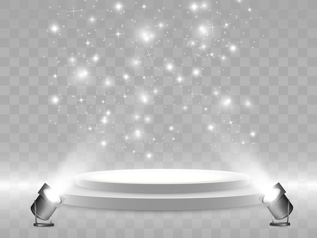 Podium. palco para cerimônia de premiação. pedestal. holofote. .