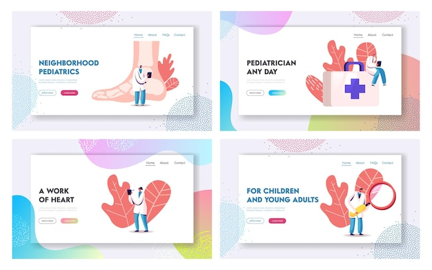 Podologia e pediatria cuidados de saúde medicina landing page modelo conjunto.