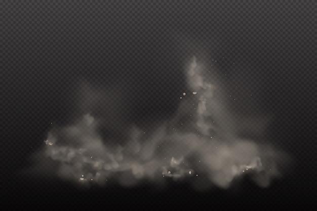 Poeira 3d no fundo transparente escuro. partículas de nuvem suja de poeira na poluição do ar e fumaça gog. nuvens de explosão na cidade smog, poluído e ar sujo