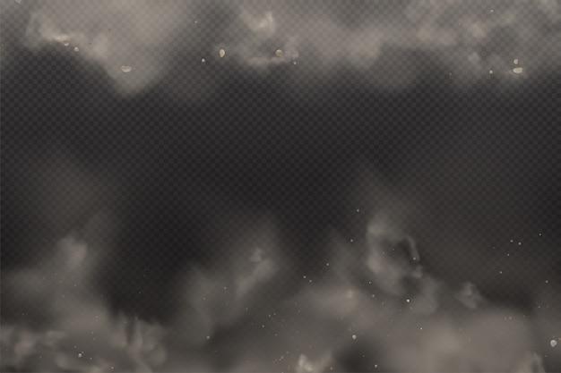 Poeira 3d no fundo transparente escuro. partículas de nuvem suja de poeira na poluição do ar e fumaça gog. nuvens de explosão na cidade smog,