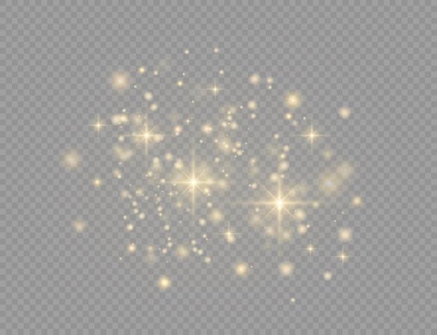 Poeira amarela. belos flashes de luz. partículas de poeira voam no espaço. efeito bokeh