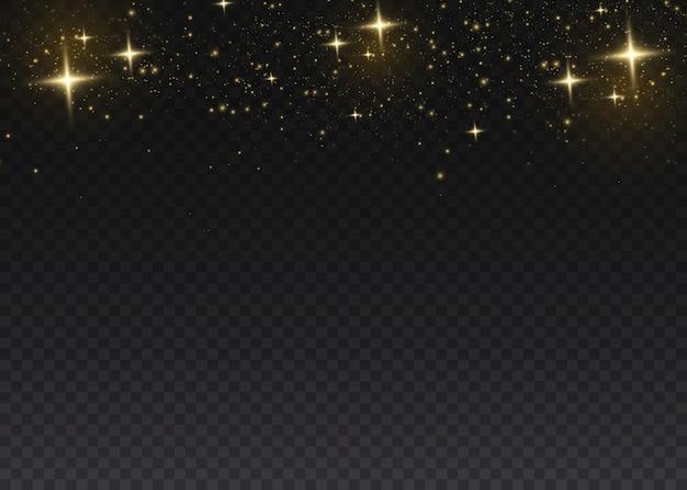 Poeira amarela. efeito bokeh. bela luz pisca. partículas de poeira voam no espaço. brilhantes manchas de poeira em um fundo escuro.