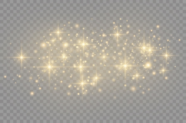 Poeira amarela. efeito bokeh. partículas de poeira voam no espaço. manchas brilhantes de poeira.