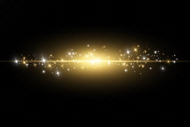 Poeira amarela. efeito de luz. efeito de poeira. partículas de poeira tremeluzem.