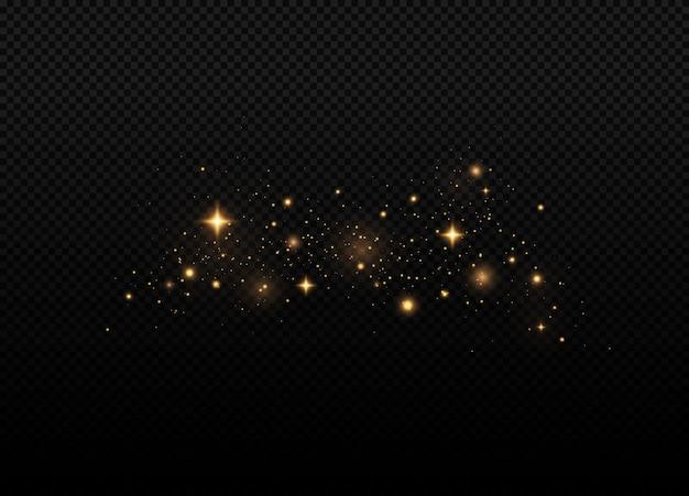 Poeira amarela lindos flashes de luz partículas de poeira voam no espaço