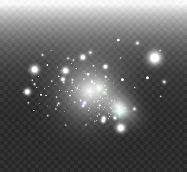 Poeira branca. faíscas brancas e estrelas douradas brilham com luz especial. brilha em um fundo transparente. teste padrão abstrato partículas de poeira mágica cintilante.