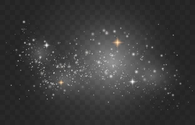 Poeira branca. faíscas brancas e estrelas douradas brilham com luz especial.