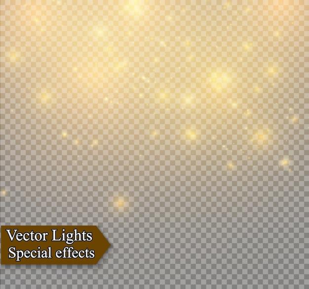 Poeira em um fundo transparente. estrelas brilhantes. o efeito de iluminação do brilho.