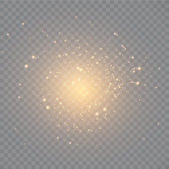 Poeira. faíscas brancas e estrelas douradas brilham com uma luz especial.