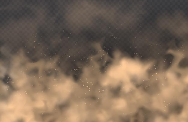 Poeira, nuvem de areia, spray de pó, poluição atmosférica em fundo transparente. realista