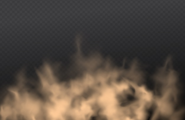 Poeira, nuvem de areia, spray de pó, poluição atmosférica em fundo transparente