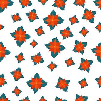 Poinsétia natal flor sem costura padrão isolado no branco backgroung. ilustração vetorial desenhada à mão