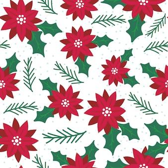 Poinsétia sem costura com padrão vermelho e verde