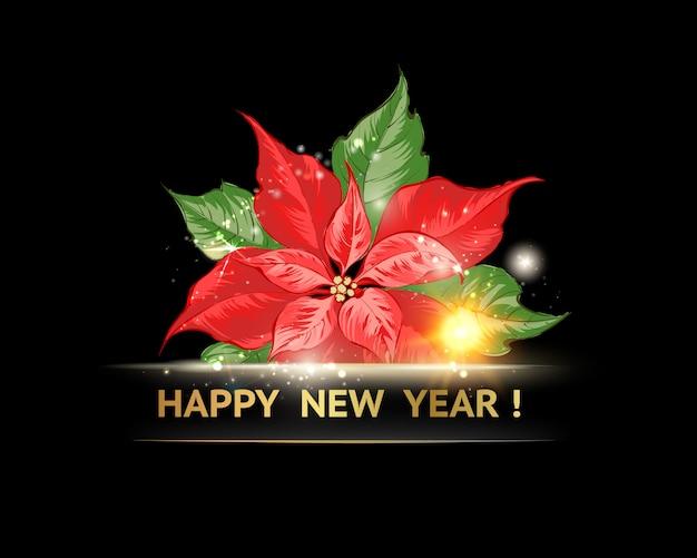 Poinsétia vermelha com feliz ano novo texto isolatrd sobre preto