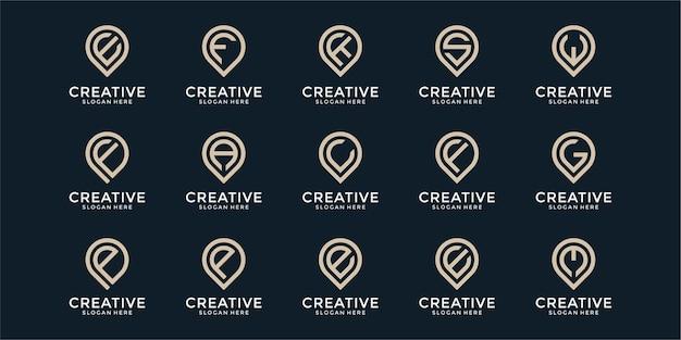 Points conjunto de modelos de design de logotipo de carta de monograma