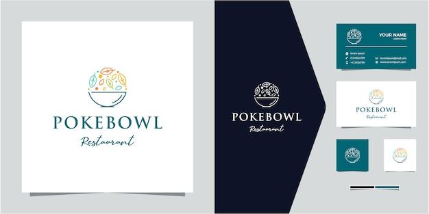 Poke bowl restaurante linha contorno monoline logotipo