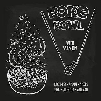 Poke hawaiian poke bowl com verduras e legumes.