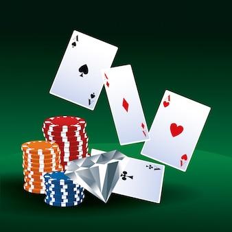 Poker aces cartões chips diamante apostas jogo jogo casino