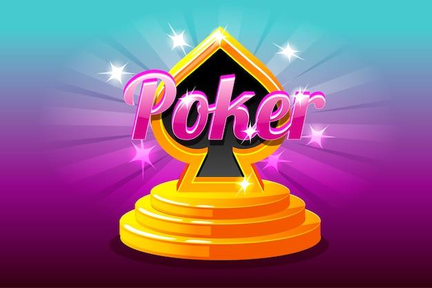 Poker e símbolo de baralho no pódio do palco. naipe de cartas de jogar.