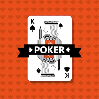 Poker king spade game banner ribbon