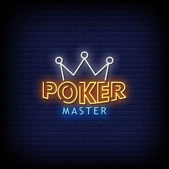 Poker master neon signboard na parede de tijolos