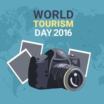 Polaroid câmera para comemorar o dia mundial do turismo